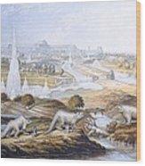 1854 Crystal Palace Dinosaurs By Baxter 2 Wood Print