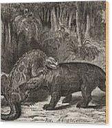 1863 Figuier Iguanodon And Megalosaurus Wood Print