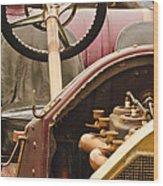 1914 Mercer Model 35 J Raceabout Engine And Steering Wheel Wood Print