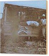 1920s Sepia Farm Stand Wood Print by Debbie Wassmann
