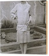 1927 Suit With A Mid-knee Pleated Skirt Wood Print