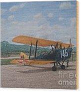 1930's Tiger Moth Aircraft - Aeronave Forca Aerea Portuguesa Wood Print