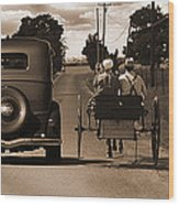 1934 Chevy And Today's Horse And Buggy By Randall Branham Wood Print