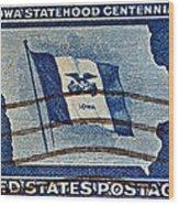 1946 Iowa Statehood Stamp Wood Print