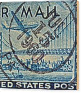1946 Oakland Bay Bridge Air Mail Stamp Wood Print