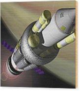 1950s Orion Nuclear Rocket, Artwork Wood Print