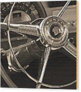 1953 Pontiac Steering Wheel - Sepia Wood Print