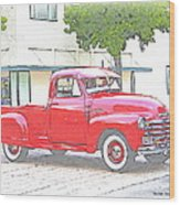 1953 Red Chevy Pickup Truck Wood Print