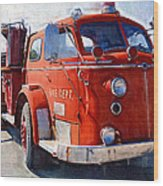 1954 American Lafrance Classic Fire Engine Truck Wood Print by Kathy Clark