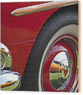 1954 Hudson Hornet Wheel And Emblem Wood Print