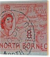 1954 North Borneo Stamp Wood Print
