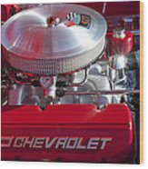 1955 Chevrolet 210 Engine Wood Print