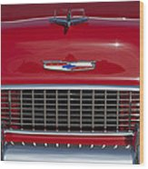 1955 Chevrolet 210 Hood Ornament And Grille Wood Print