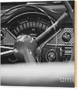 1955 Chevy Bel Air Dashboard In Black And White Wood Print by Sebastian Musial