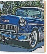 1955 Chevy Bel Air Wood Print by Samuel Sheats