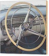 1956 Cadillac Steering Wheel And Dash Wood Print