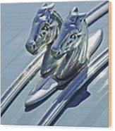1956 Citroen 2cv Hood Ornament And Grille Emblem 3 Wood Print