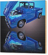 1956 Ford Blue Pick-up Wood Print by Jim Carrell