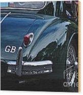 1956 Jaguar Xk 140 - Rear And Emblem Wood Print