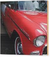 1956 Red And White Chevy Wood Print