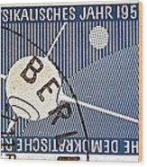 1957 - 1958 East German Sputnik Stamp Wood Print