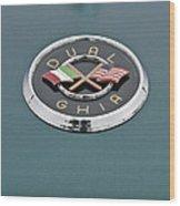 1957 Dual-ghia Convertible Emblem Wood Print