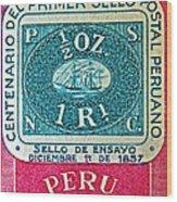 1957 Peru Ten Centavos Stamp Wood Print