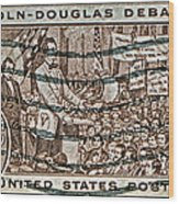 1958 Lincoln-douglas Debates Stamp Wood Print