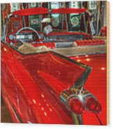 1959 Cadillac At The Pumps Wood Print
