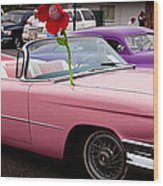 1959 Cadillac Convertible And The 1950 Mercury Wood Print