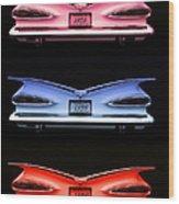 1959 Chevrolet Eyebrow Tail Lights Wood Print