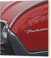 1961 Ford Thunderbird Headlight Emblem Wood Print