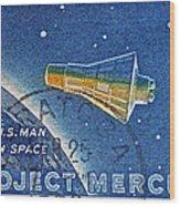 1962 Man In Space Stamp Wood Print
