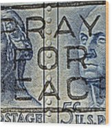 1962 Pray For Peace Stamp Collage Wood Print