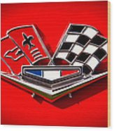 1963 Chevy Corvette Emblem Wood Print