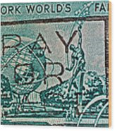 1964 New York World's Fair Stamp Wood Print