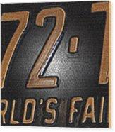 1965 New York World's Fair License Plate Wood Print