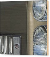 1966 Cadillac Emblem And Headlight Wood Print