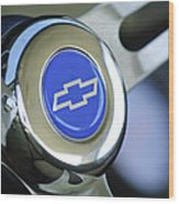 1966 Chevrolet Nova Steering Wheel Emblem Wood Print