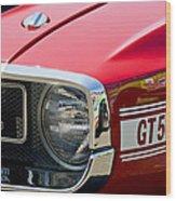 1969 Shelby Gt500 Convertible 428 Cobra Jet Grille Emblem Wood Print