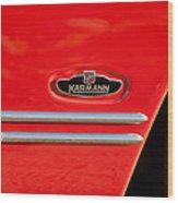 1970 Volkswagen Vw Karmann Ghia Emblem Wood Print