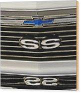 1971 Chevrolet Nova Ss350 Grille Emblem Wood Print
