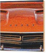 1971 Dodge Challenger - Orange Mopar Typography - Mp002 Wood Print