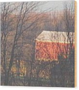 1nov2012 Sunrise On Red Barn Wood Print