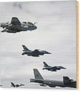 A B-52 Stratofortress Leads A Formation Wood Print