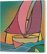 A Boat Wood Print