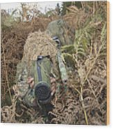 A British Army Sniper Team Dressed Wood Print