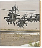 A Group Of Ah-64d Apache Helicopters Wood Print