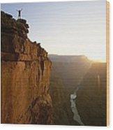 A Hiker Surveys The Grand Canyon Wood Print by John Burcham