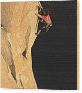 A Man Rock Climbing On El Capitan Wood Print